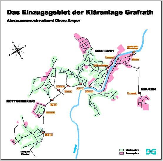 Karte des Einzugsgebiets der Kläranlage Grafrath